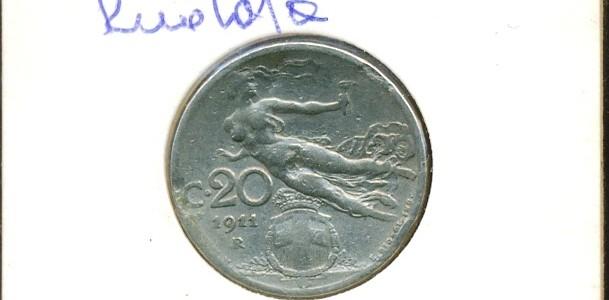 20 centesimi Nazione: Italia Anno: 1911 Ruotata