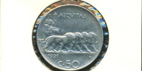 50 centesimi Nazione: Italia Anno: 1924 Contorno rigato