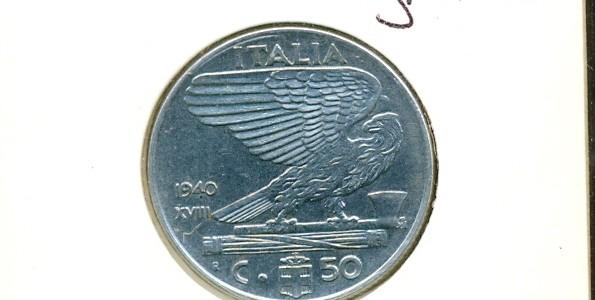 50 centesimi Nazione: Italia Anno: 1940 Anno fascista XVIII – Magnetica