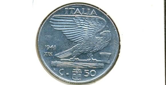 50 centesimi Nazione: Italia Anno: 1941 Anno fascista XIX – Magnetica