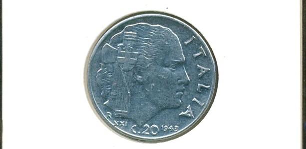 20 centesimi Nazione: Italia Anno: 1943 Anno fascista XXI – Magnetica